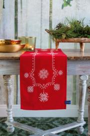 Witte Kerststerren Loper Voorbedrukt Vervaco