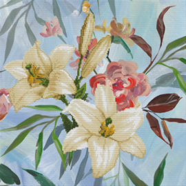 Wild Lilly Bouquet Voorbedrukt Borduurpakket Needleart World