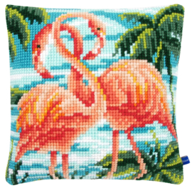 Flamingo's Kruissteekkussen Vervaco