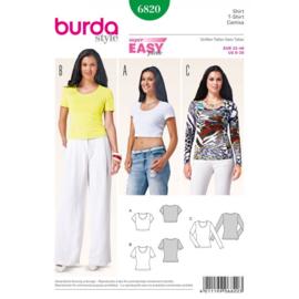 6820 T-Shirt, Croptop en Trui Burda Easy Maat 32 - 46
