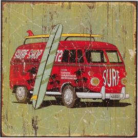 Surf Bus Hawaii Houten Schilderij Clayre & Eef