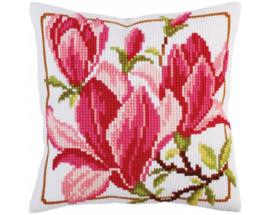 Magnolia Flowers Voorbedrukt Kruisssteek Kussen Collection D'Art