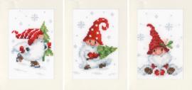 Kerstkabouters in de Sneeuw Kaarten set van 3 Aida Telpakket Vervaco