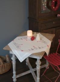 Kerstbomen in rood/ grijs Voorbedrukt tafelkleed - Vervaco