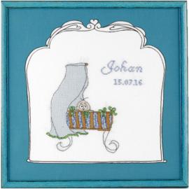 Borduurpakket Geboortetegel wieg: Johan Pako