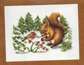 Eekhoorntje in de sneeuw Aida Borduurpakket Vervaco