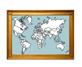 Wereld kaart XXXL Borduurpatroon