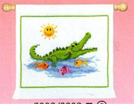 Lachende Krokodil Aida Telpakket Vervaco