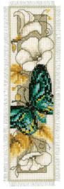 Vlinders en bloemen boekenlegger Aida Telpakket Vervaco