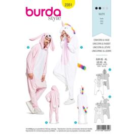 2351 Eenhoorn Onesie Burda geel
