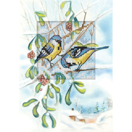 Vogeltjes tussen de mistletoe Aida wenskaart Orchidea
