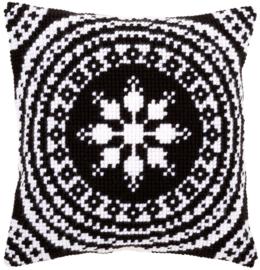 Zwart/ Wit Kruissteekkussen Vervaco