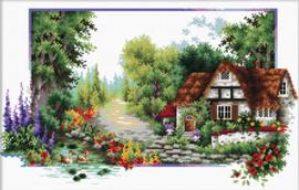 English Cottage Stream Voorbedrukt borduurpakket - Needle Art