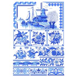 No. 048 Klassisch Blau Lindner's Kreuzstiche Patroon