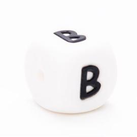 Letter B Siliconen kraal 12mm