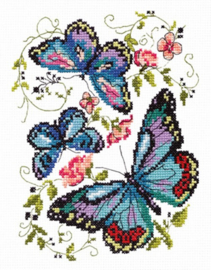 Blue Butterflies Aida Borduurpakket Chudo-Igla