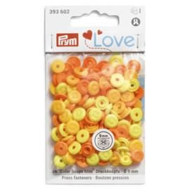9mm knoopjes Color Snaps  Geel/ Oranje