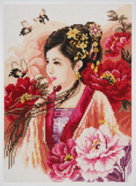 Asian Lady in Pink Lanarte Diamond Painting