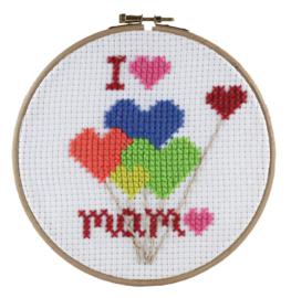 I ♥ mam Voorbedrukt kinder borduurpakket - Pako