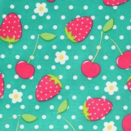Aardbeien en Kersen groene stof - Tissu de Marie 100% polyester