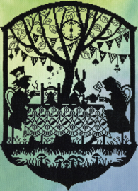 Fairy tales: Mad Hatter's Tea Party Aida telpakket Bothy Threads