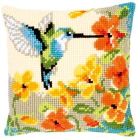 Kolibri met bloemen Voorbedrukt kruissteekkussen -  Vervaco