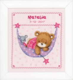 Pink Little Bear in Hammock Aida Vervaco