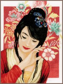Aziatisch bloemenmeisje eavenwave borduurpakket - Lanarte