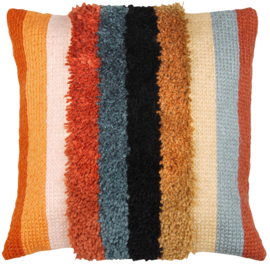 Boho Stripes Latch Hook/Chain Stitch Cushion Vervaco