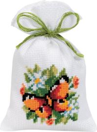 Oranje vlinder Kruidenzakje Aida Telpakket Vervaco