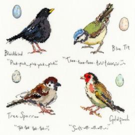Garden Birds 2 by Madeleine Floyd Aida Borduurpakket Bothy Threads