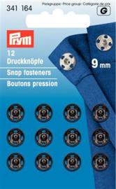 9mm Zwarte Aannaaidrukknopen Prym
