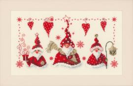 Vrolijke Kerstmannen Aida Vervaco Telpakket