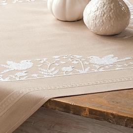 Witte vogels voorbedrukt tafelkleed - Vervaco