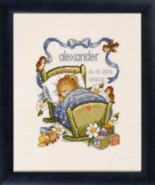 Lief beertje in blauwe wieg Aida borduurpakket Pako