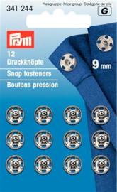 9mm Zilveren Aannaaidrukknopen Prym