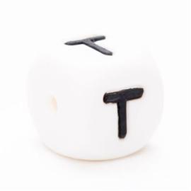 Letter T Siliconen kraal 12mm