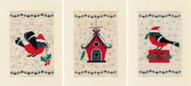 kerstvogeltje en huisje - 3 kerstkaarten borduurpakket - Vervaco