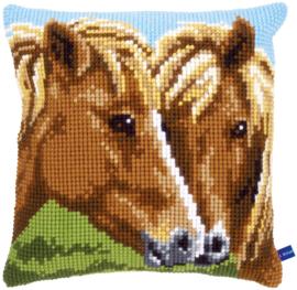Bruine Paarden Kruissteekkussen Vervaco