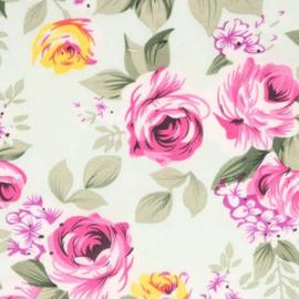 Licht groen bloemenstof Tissu de Marie 100% polyester