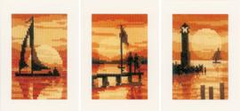 Wenskaart zonsondergang set van 3 telpakket - Vervaco