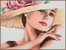 Dame met hoed Lanarte Diamond Painting
