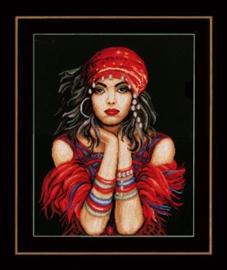 Gypsy Girl - Ziguenerin Aida Borduurpakket Lanarte