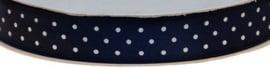 Blauw 15mm Dubbelzijdig Satijnband met Witte Stippen