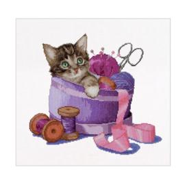 Sewing Basket Kitten Aida Thea Gouverneur Telpakket