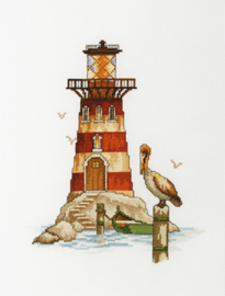 Lighthouse Pelican ( Vuurtoren met Pelikaan) Aida Borduurpakket RTO M394