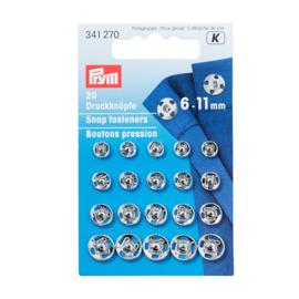 6-11mm Zilveren Aannaaidrukknopen Prym