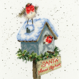 Santa Please Stop Here Borduurpakket Wrendale Designs by Hannah Dale XHD55