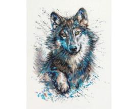 Snow Splashes Wolf Aida Borduurpakket RTO