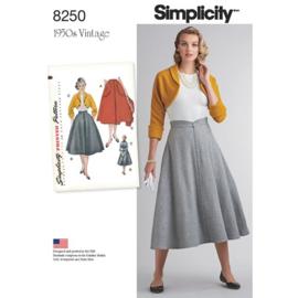 8250 H5 Misses' Vintage 1950s Skirt and Bolero Simplicity 32-40